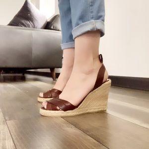 Auth Coach leather espadrilles wedge sandals sz 9